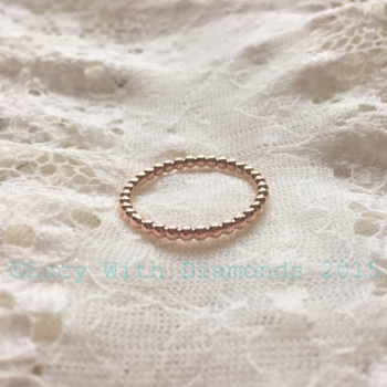 9ct Solid Rose gold beaded ring stacking ring