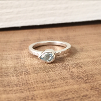 Blue topaz pear shaped silver ring stacking ring