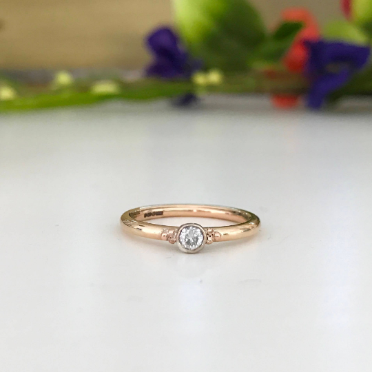 9ct Rose Gold 0.10ct diamond ring with beaded details delicate engagement r