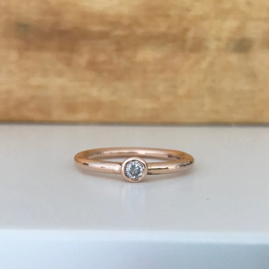 9ct Rose Gold Dainty Diamond Ring 0.10ct Engagement Ring Stacking ring Vale