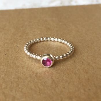 Beaded sterling silver stacking ring with pink tourmaline