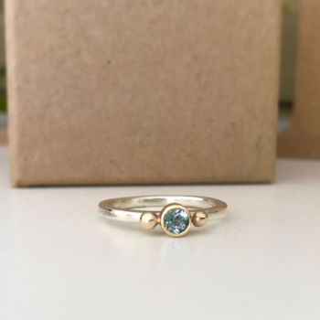 Aquamarine stacking ring in silver and 9ct yellow gold with bead detail