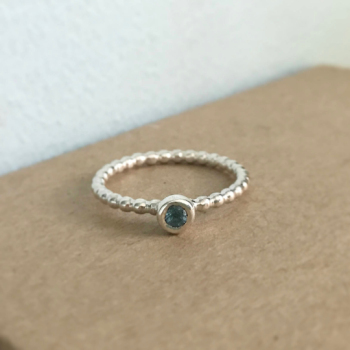 Beaded sterling silver stacking ring with Peridot