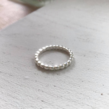 Beaded stacking ring sterling silver 3mm beaded ring chunky beaded ring