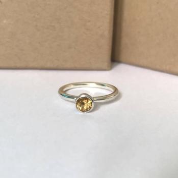 Citrine sterling silver ring stacking ring november birthstone
