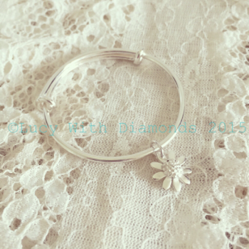 Childs bangle christening bangle flower girl bracelet silver adjustable bangle bracelet