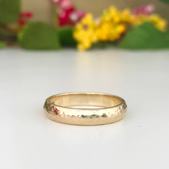 9ct yellow gold hammered finish wedding ring 4mm wide gents ring womens rin