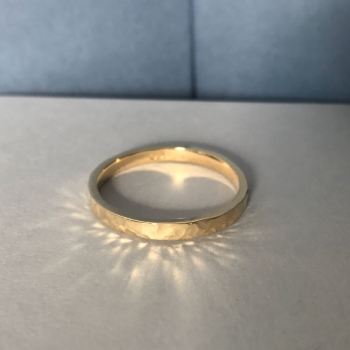Yellow Gold Hammered Finish Wedding Ring 9ct Yellow Gold 18ct Yellow Gold