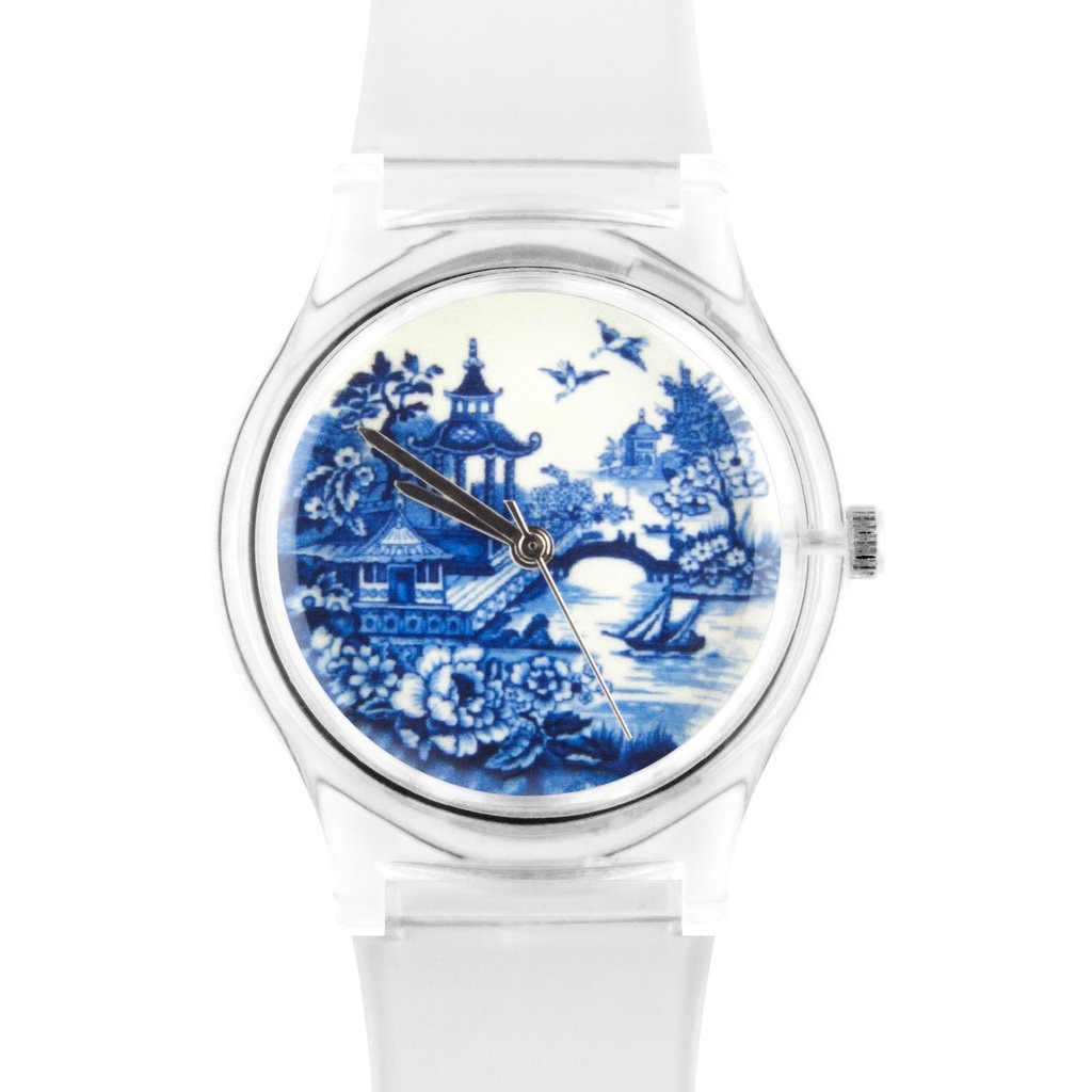 12:01pm Clear Watch Blue and White Face