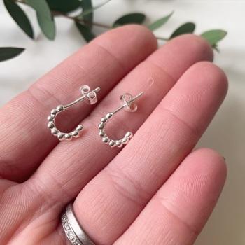 Beaded half hoop stud earrings in sterling silver