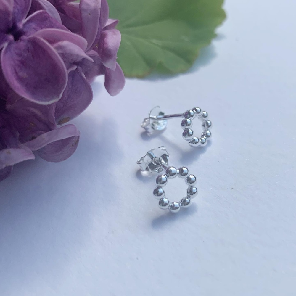 Beaded sterling silver circle studs