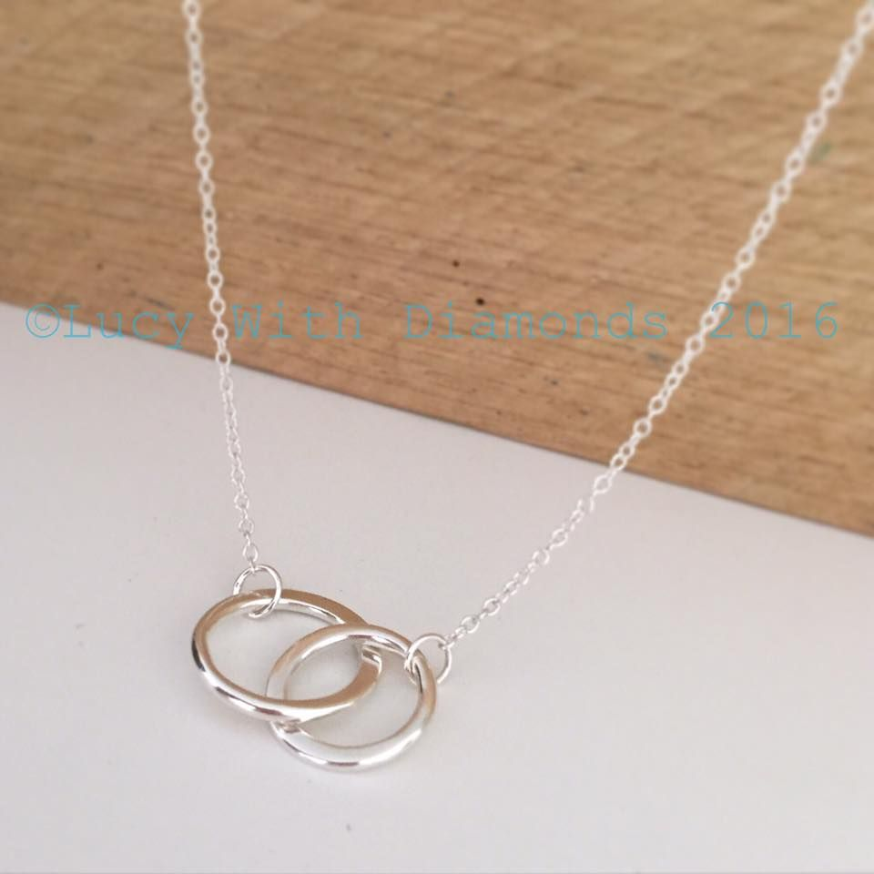 Double link necklace silver loop necklace