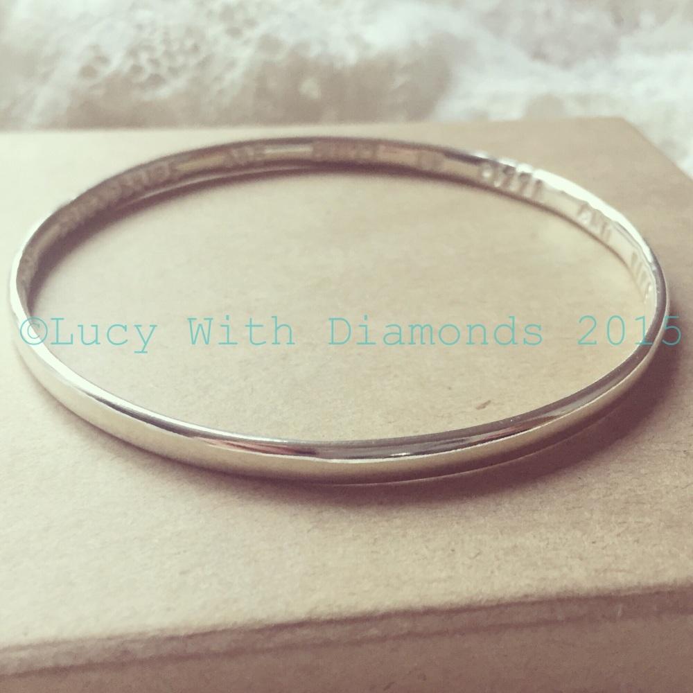 Polished finish personalised silver bangle