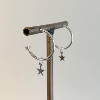 Silver hoop earrings with silver star