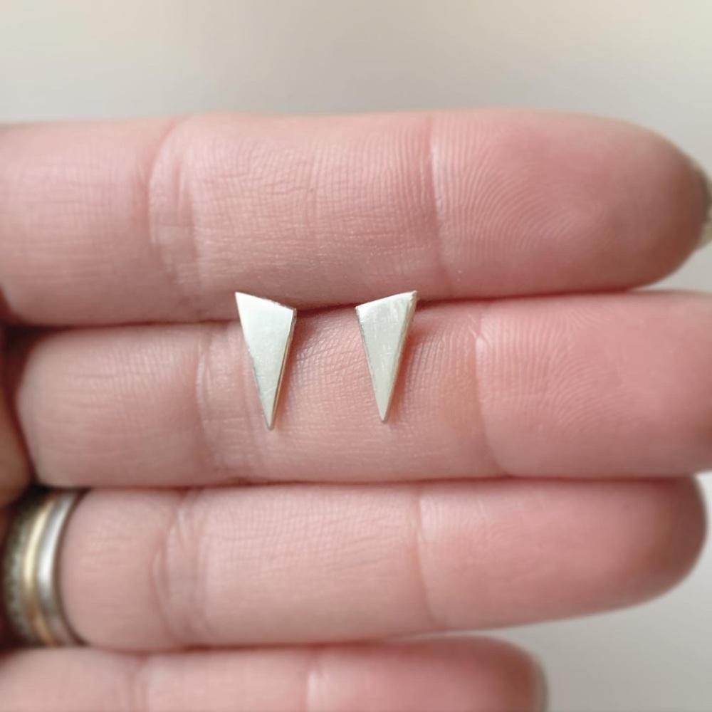 Silver long triangle stud earrings