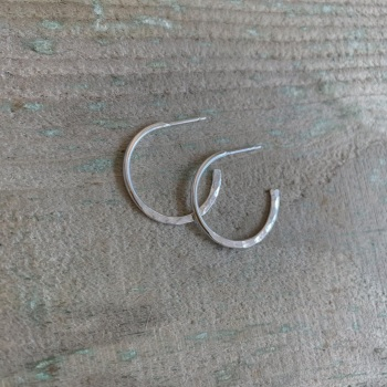 Sterling silver hoops with hammered detail