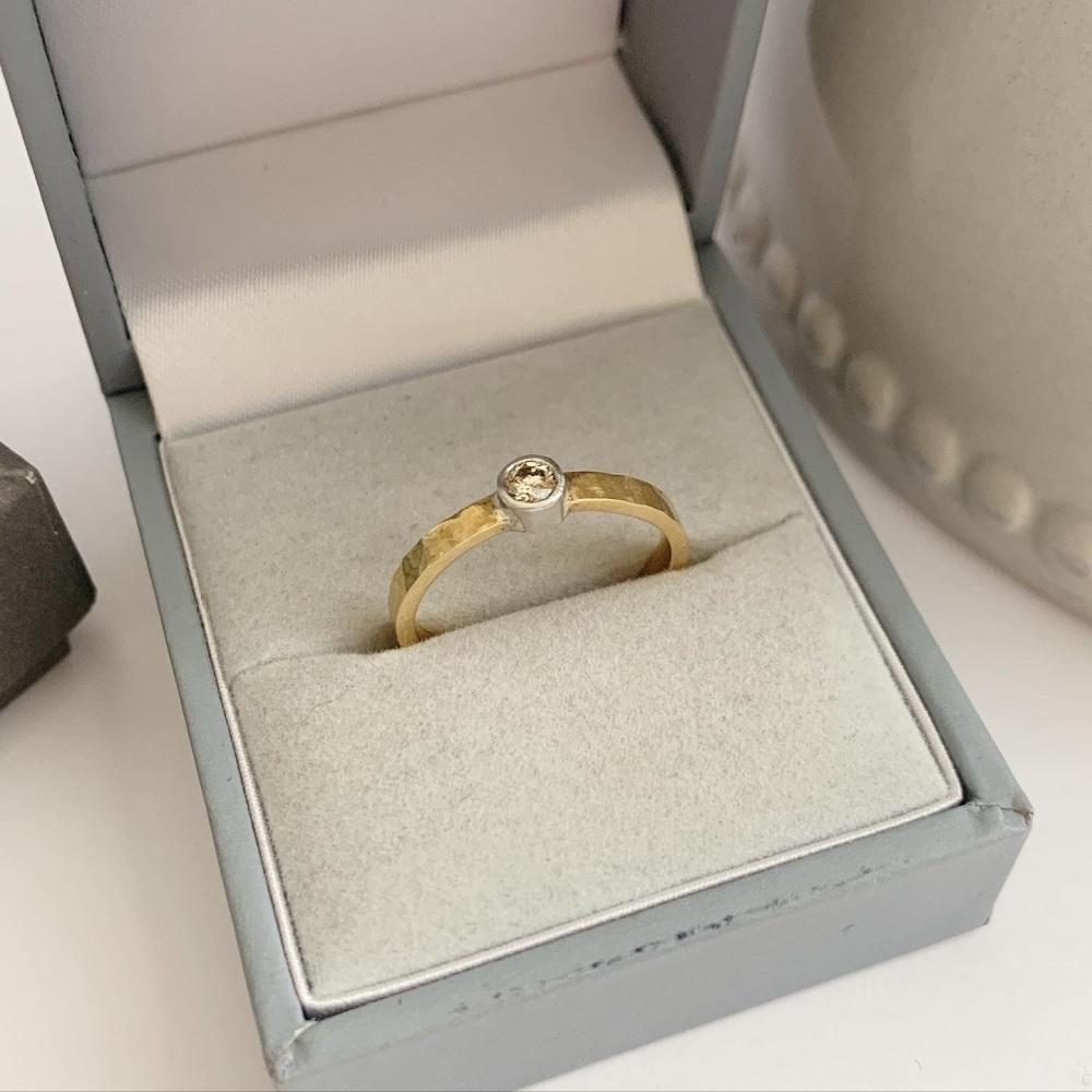 0.10ct Diamond 18ct yellow gold and Platinum engagement ring