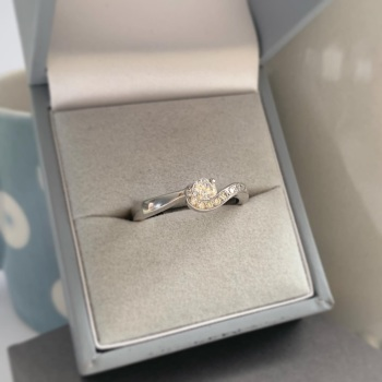 Palladium and Diamond Wave Engagement Ring
