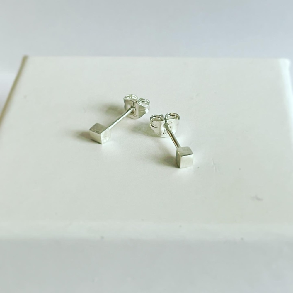 Cube sterling silver studs