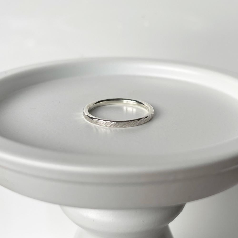 Drift texture slim sterling silver ring