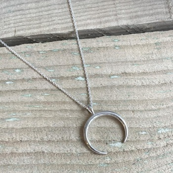 Horn necklace in sterling silver
