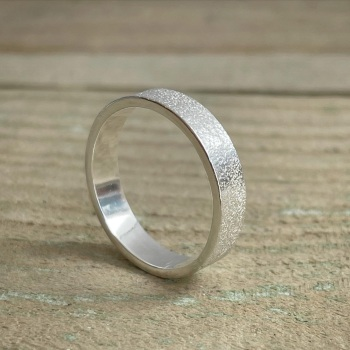 Sand texture silver ring