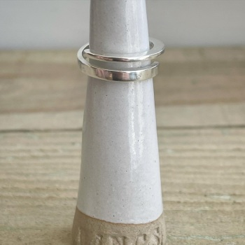 Contoured wrap ring in silver