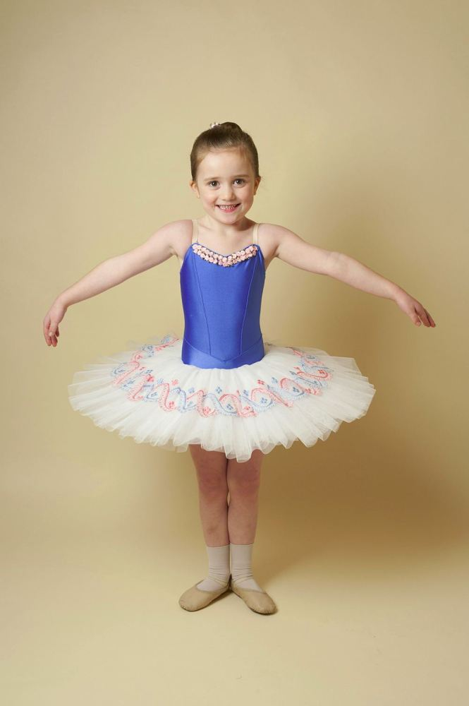 Blue and Pink Flower Tutu Hire - Age 5-6