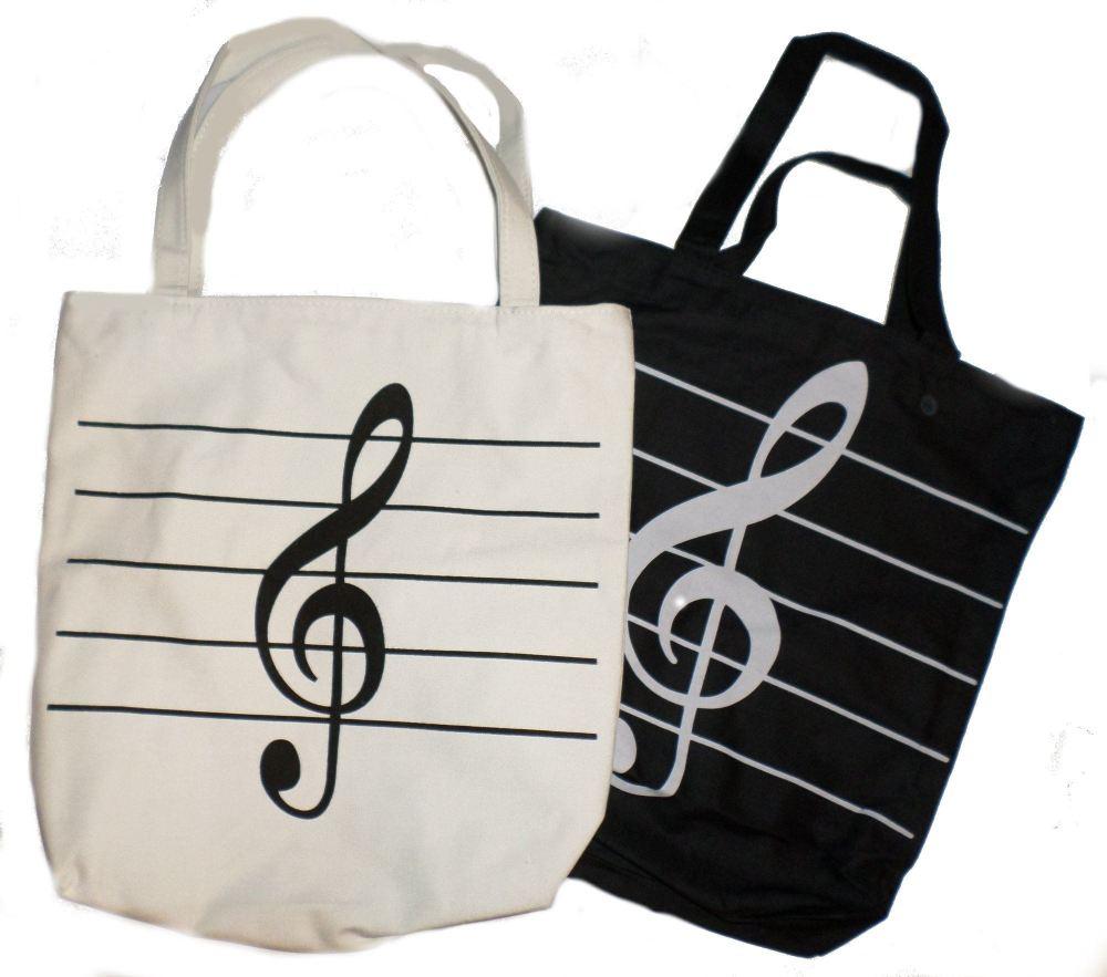Canvas Zip Bag (Black or Cream) - Treble clef