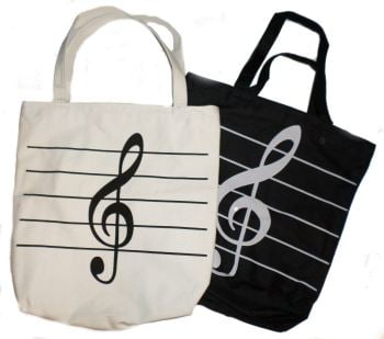 Canvas Zip Bag (Black or Cream) - Treble clef