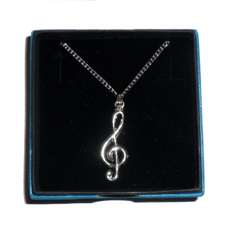 Necklace with Pewter Treble Clef Pendant