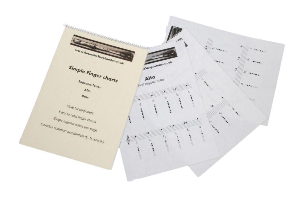 Simple fingering / note charts (Soprano, Alto, Tenor and Bass)