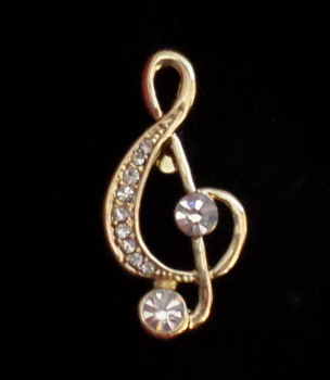 Brooch -  Treble Clef Gold and Crystals