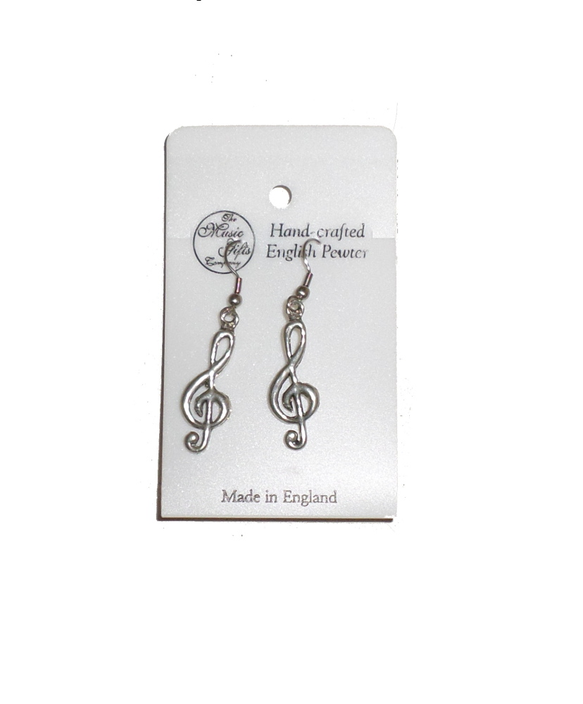 Pewter Earrings - Treble Clef