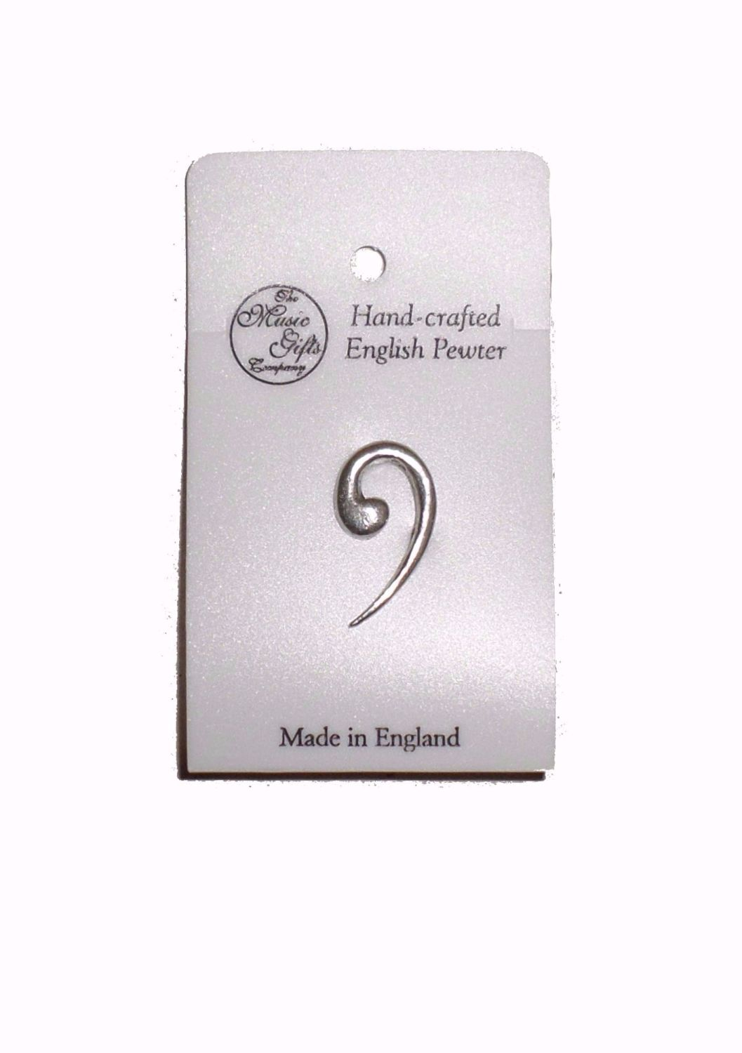 Pewter pin badge - Bass Clef