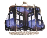 DR WHO TARDIS TUMBLING BLOCK PRINT EVENING HANDBAG