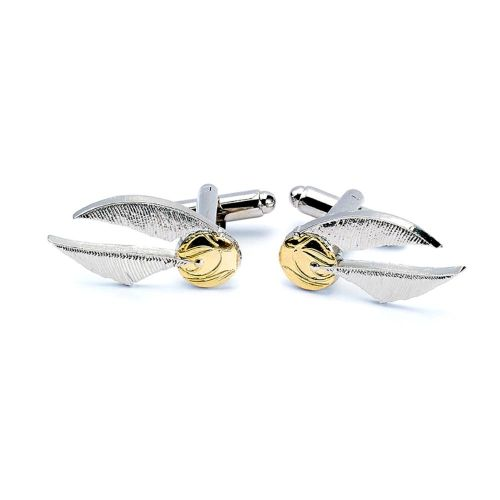HARRY POTTER OFFICIAL SILVER PLATED FLYING SNITCH CUFFLINKS