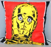 STAR WARS C3PO CUSHION HANDMADE WITH OFFICIAL FABRICS