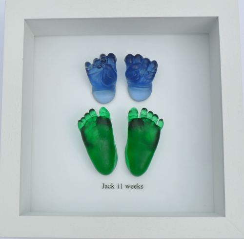 Coloured Glass hands and feet framed