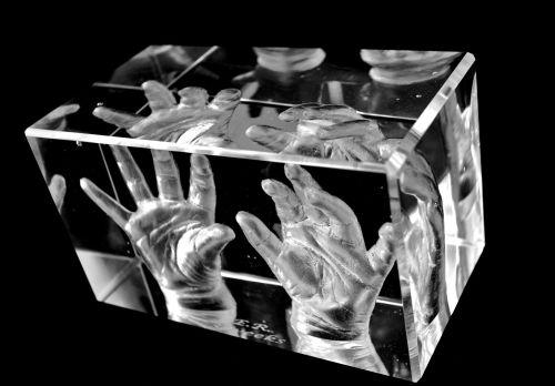 Pair of baby hands in glass block