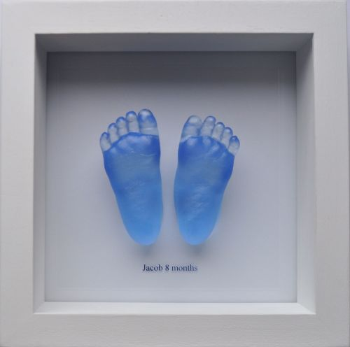coloured glass baby feet framed