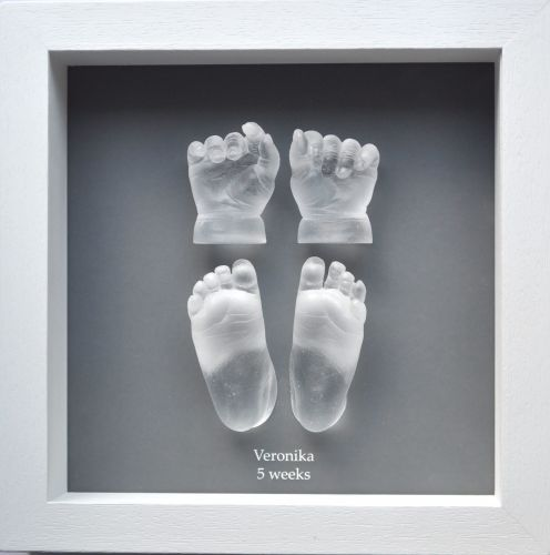 Crystal baby feet and hands framed