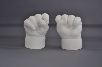 Pair of baby hands cast in plaster