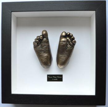 Bronze casting baby feet framed