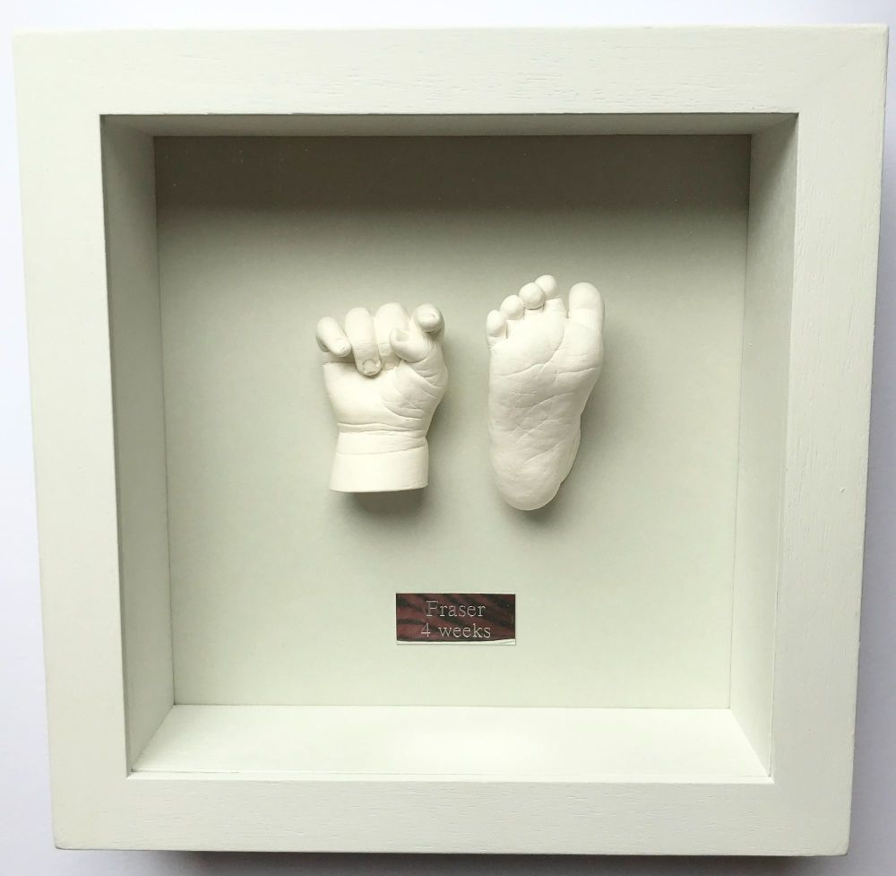 3d plaster hand and foot framed