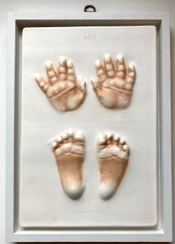 Hand and foot impression in open box frame