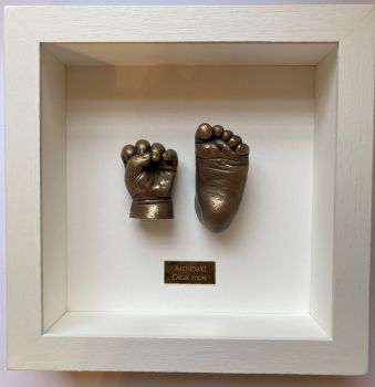 Bronze 3D baby hand and foot framed