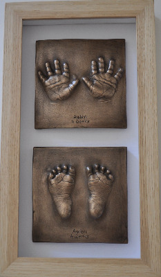 2 small Bronze Resin impressions framed