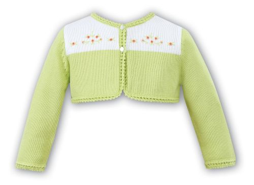 Girls Sarah Louise Lime and White Cardigan
