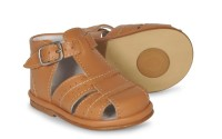 CLEARANCE PRICE NOW ONLY £20 Boys Leather Sandals  3320 Wide Fitting - Camel